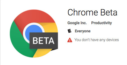 Google Play store showing beta version of Chrome