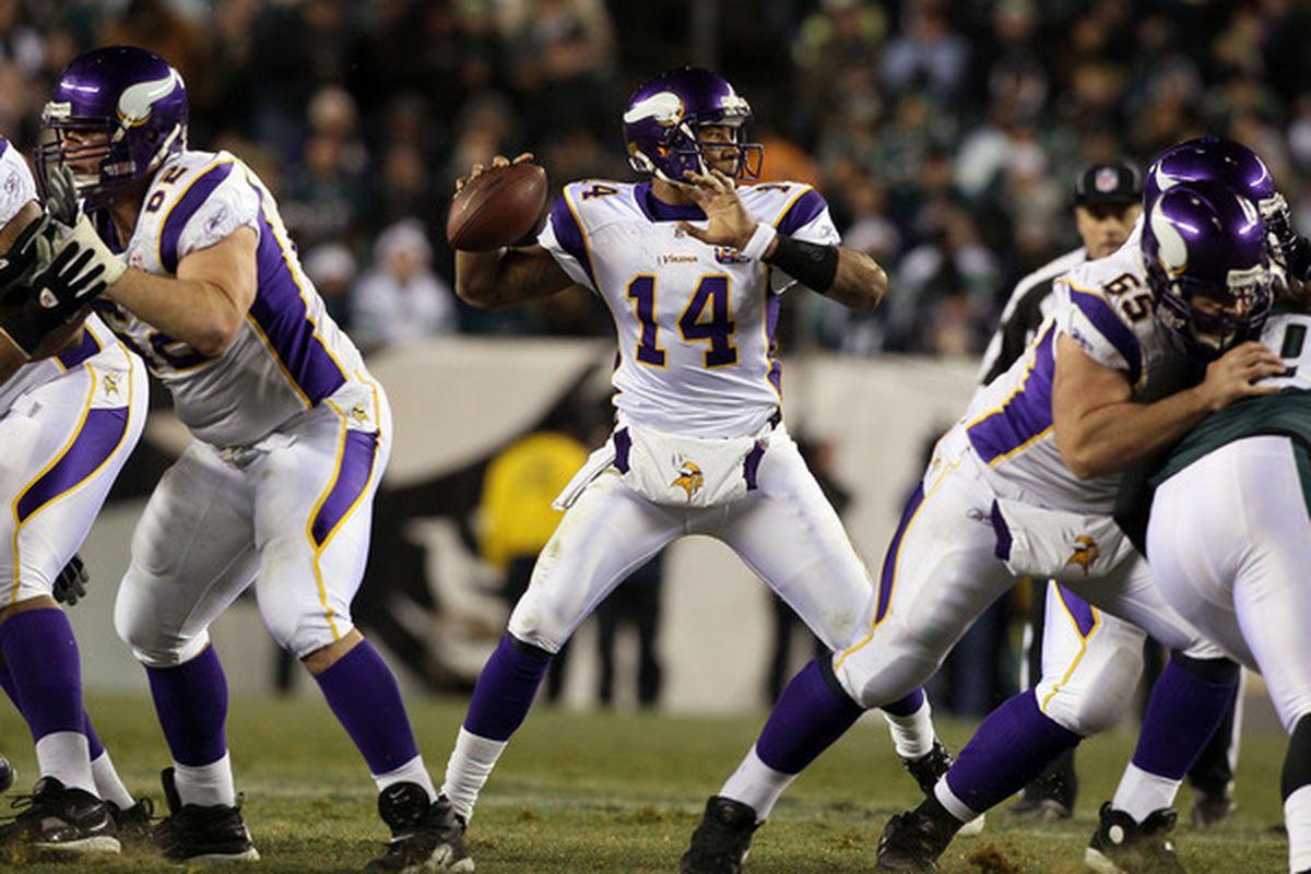 PHILADELPHIA PA - DECEMBER 26:  Joe Webb #14 of the Minnesota Vikings throws a pass against the Philadelphia Eagles at Lincoln Financial Field on December 26 2010 in Philadelphia Pennsylvania.  (Photo by Jim McIsaac/Getty Images)