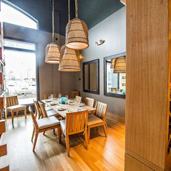 A semi-private dining room for large parties at Drift Fish House.