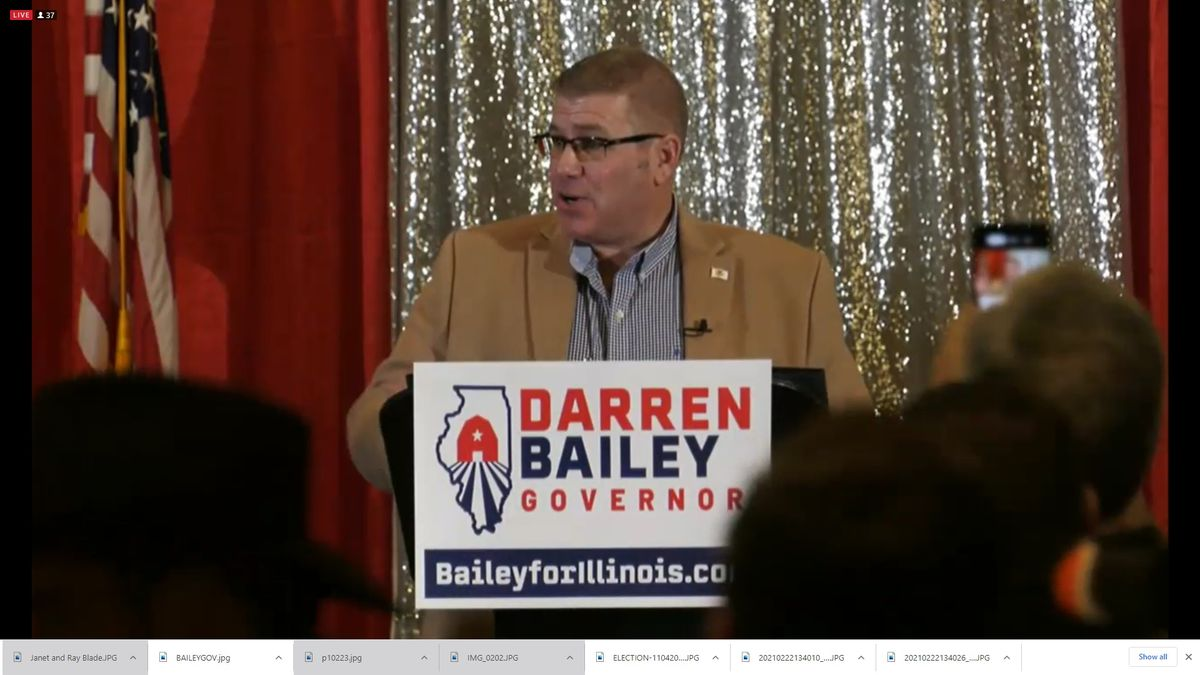 Republican state Sen. Darren Bailey launches his bid for governor in Effingham last month.