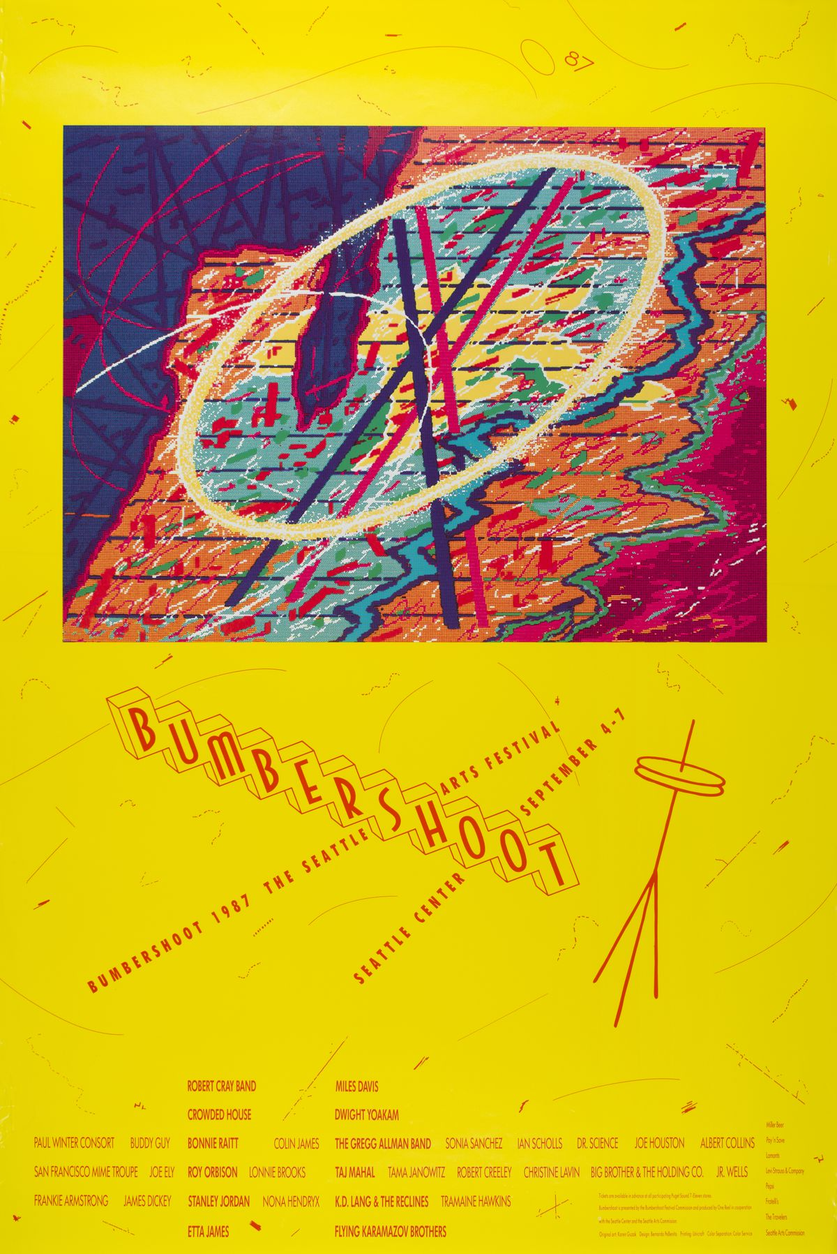 """A yellow poster has a rectangle of an abstract design up top, and a logo that reads """"BUMBERSHOOT"""" in red text with an abstract Space Needle below, then a list of artists in small print at the bottom."""