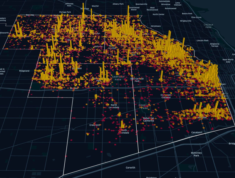 A black three-dimensional map of Chicago's West Side with yellow bars signifying where scooter trips are originating.