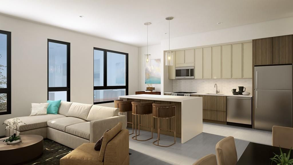 Rendering of an open living room-kitchen area with furniture, and a large island separates the kitchen.