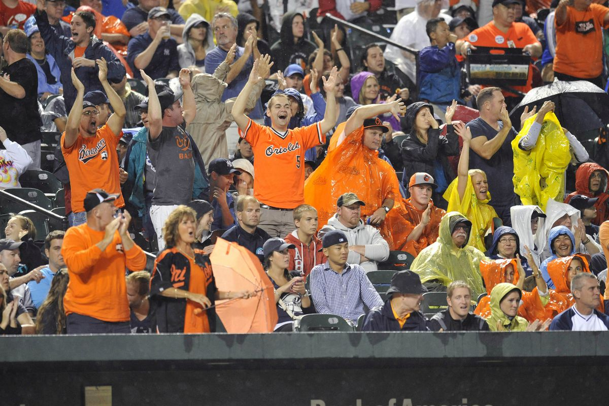 Birdland is waiting out a little rain to get to see a game like this. Mandatory Credit: Joy R. Absalon-US PRESSWIRE