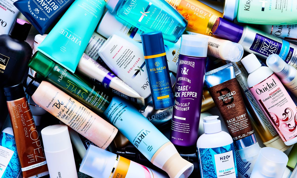 Close-up of a pile of hair products.