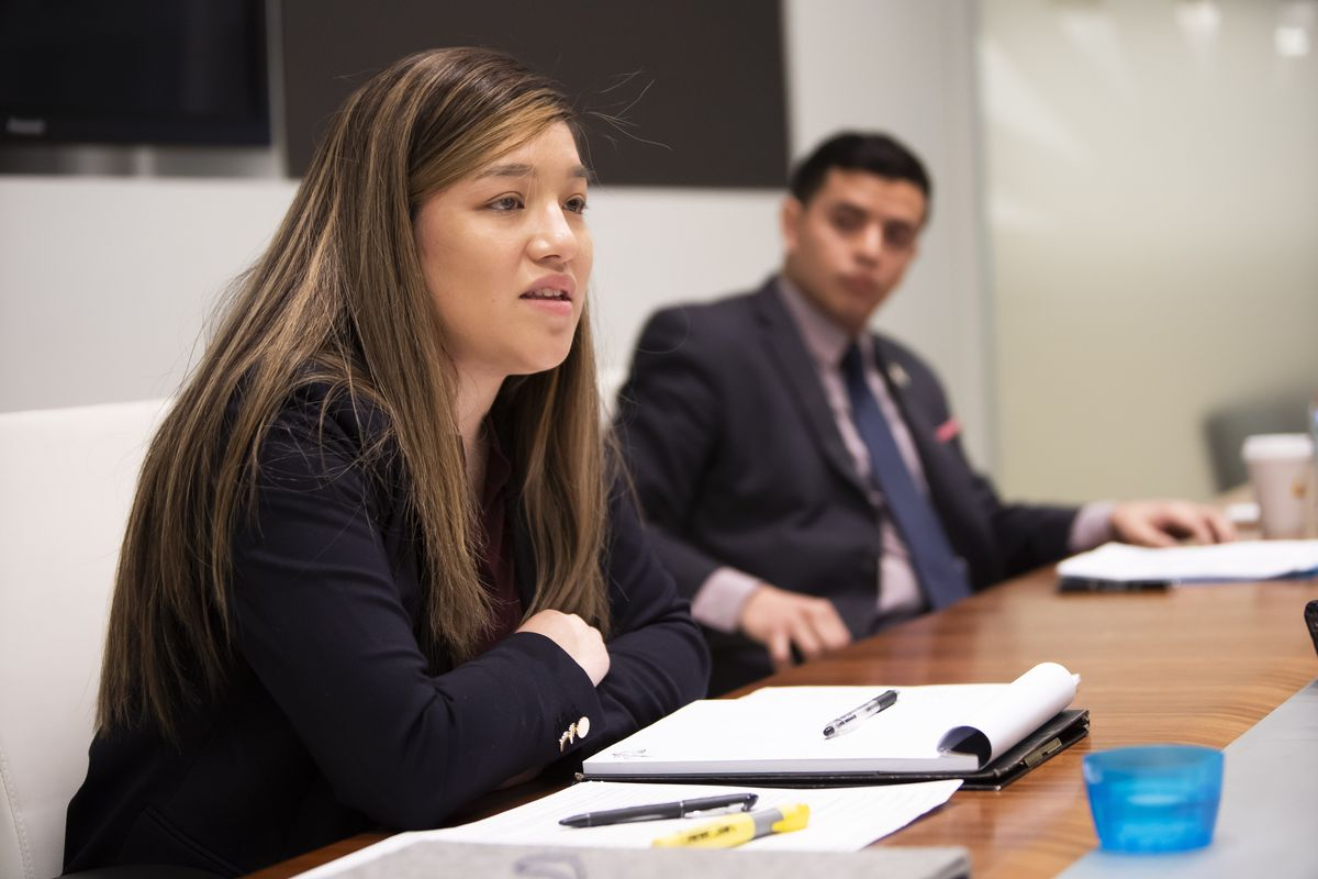 Primary challenger Alicia Elena Martinez and incumbent state Rep. Aaron Ortiz meet with the Sun-Times Editorial Board Monday.