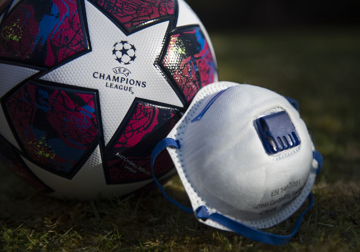 UEFA Champions League Matchball and Protective Face Mask