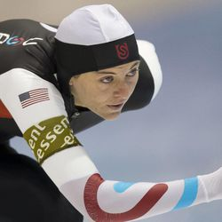 Heather Richardson of the U.S. competes during the 1000 meters race women of the World Cup speed skating at Thialf ice rink in Heerenveen, northern Netherlands, Saturday March 9, 2013. Richardson and Brittany Bowe competed Saturday at the Utah Olympic Oval for the U.S. single distance championships.