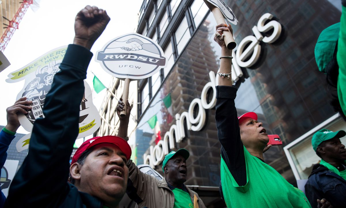 Workers protesting outside of a Bloomingdale's