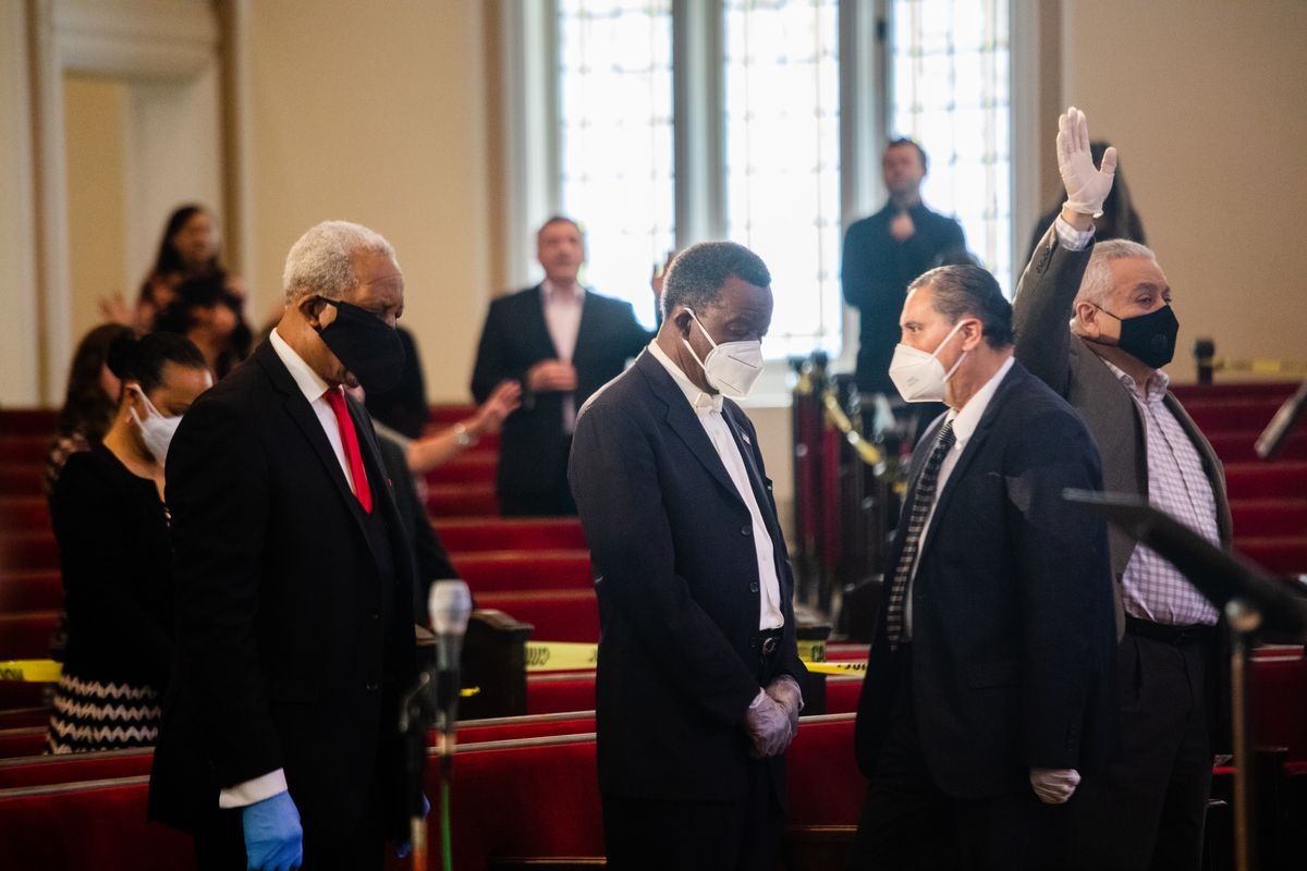 Willie Wilson worships with members of Philadelphia Romanian Church during a service on May 17, 2020. The church is one of many churches across Chicago that are defying Gov. J.B. Pritzker's stay-at-home order, which limits in-worship services to 10 people. |Pat Nabong/For The Sun-Times.