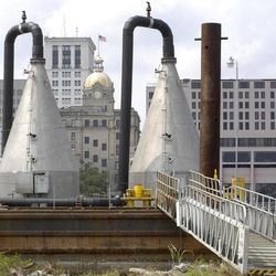 This Aug. 2, 2007 photo shows stainless steel Speece Cones injecting extra oxygen into the Savannah River in Savannah, Ga. The Georgia Ports Authority hopes the cones can alleviate the oxygen depletion caused by a proposed harbor deepening.