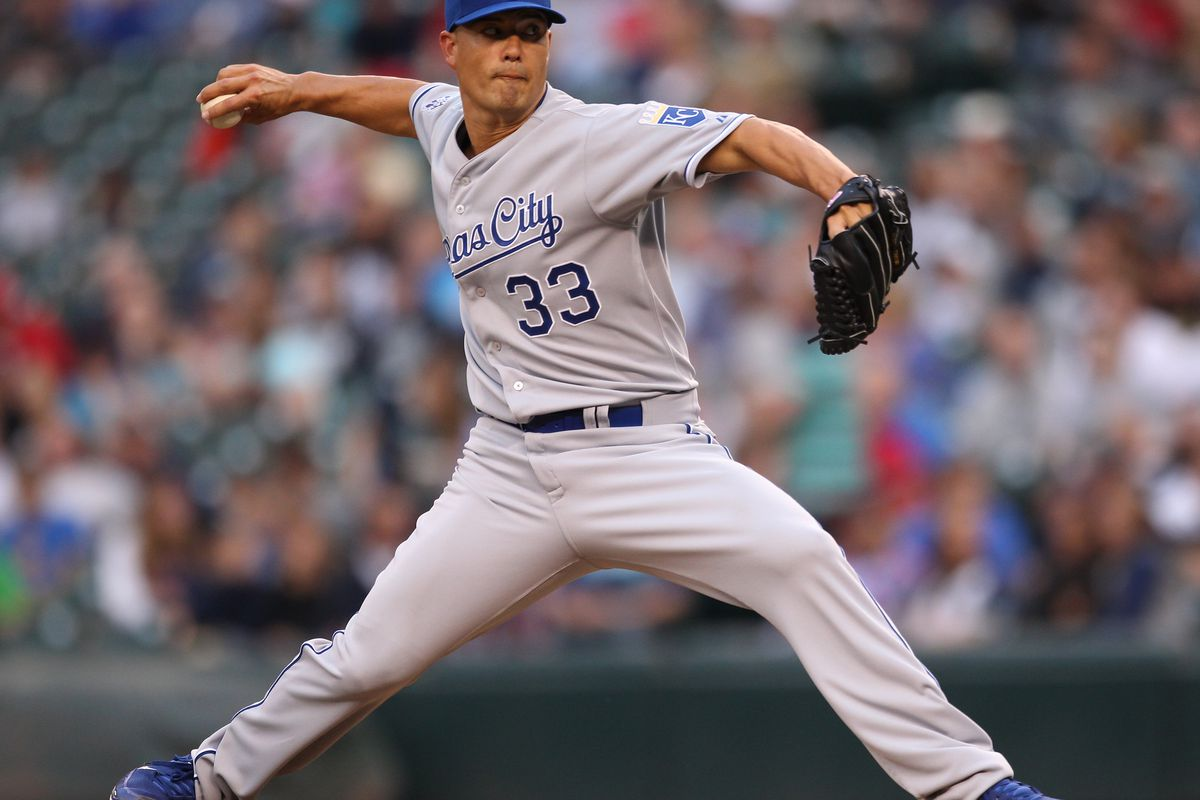 SEATTLE, WA - JULY 27:  Starter Jeremy Guthrie #33 of the Kansas City Royals pitches against the Seattle Mariners at Safeco Field on July 27, 2012 in Seattle, Washington.  (Photo by Otto Greule Jr/Getty Images)