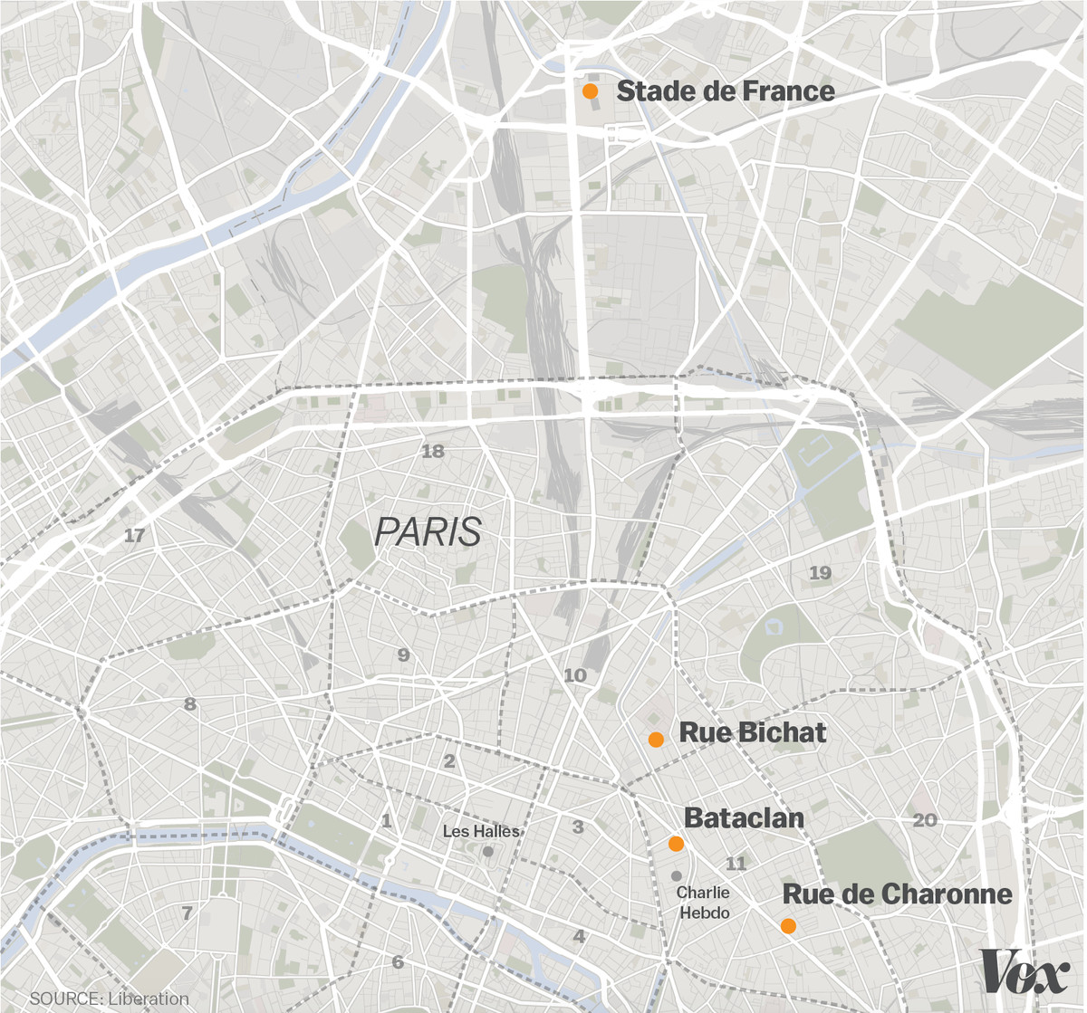 Bataclan Concert Hall Paris Map.Paris Attacks A Map Of Confirmed Shootings And Bombings Vox