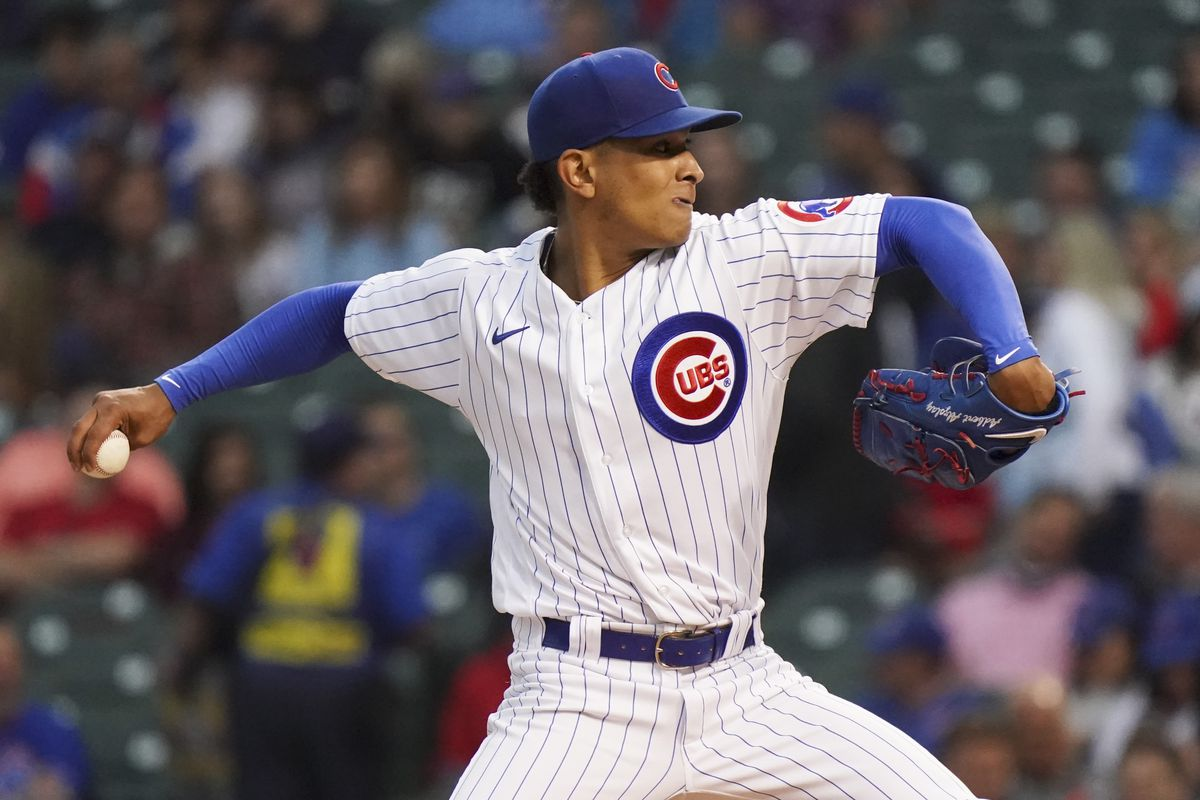 Adbert Alzolay throws a pitch during the first inning against the Phillies on Thursday at Wrigley Field.