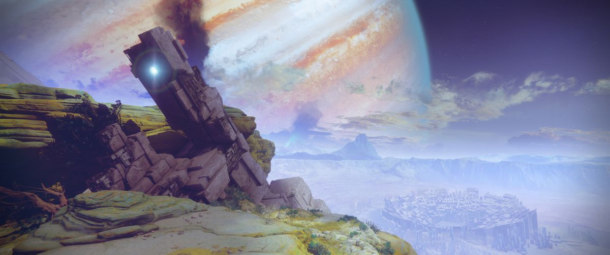 Destiny 2 - ultrawide shot of Io environment with Jupiter in the sky