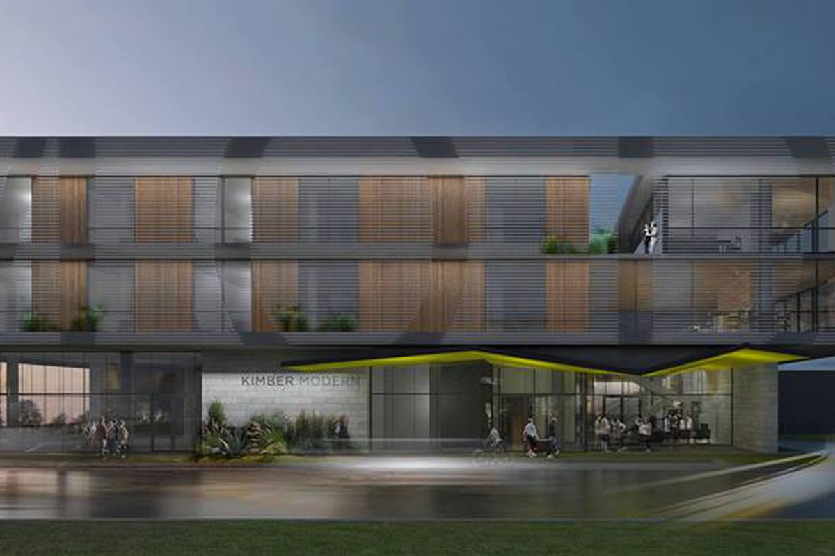 A dark/dusky rendering of a three-story hotel with rooms on second and third floors and retail, lobby below, flat roof, looks like wood and maybe concrete facade