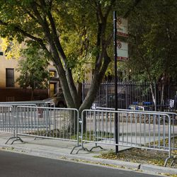 City barricades set up at the ballhawk corner