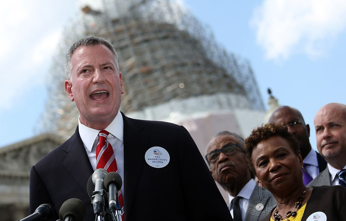 NYC Mayor Bill De Blasio Holds News Conference On Capitol Hill To Discuss Progressive Agenda To Combat Income Inequality
