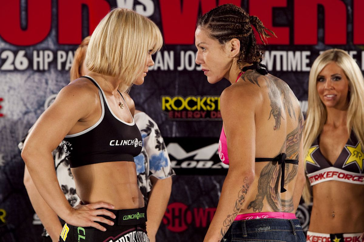 """Photo by Esther Lin for <a href=""""http://strikeforce.com/news/wp-content/uploads/2010/06/006_Jan_Finney_and_Cris_Cyborg.jpg"""">Strikeforce.com</a>"""