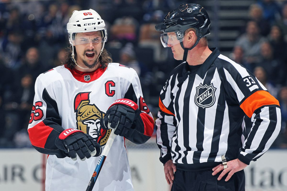 TORONTO, ON - FEBRUARY 10: Erik Karlsson #65 of the Ottawa Senators voices his displeasure over a call during play against the Toronto Maple Leafs in an NHL game at the Air Canada Centre on February 10, 2018 in Toronto, Ontario, Canada. The Maple Leafs de