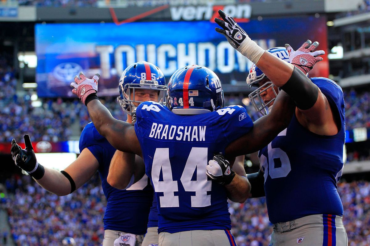 hmad Bradshaw (44) of the New York Giants celebrates a one yard touchdown with his teammates in the third quarter against the Buffalo Bills at MetLife Stadium on October 16, 2011 in East Rutherford, New Jersey.  (Photo by Chris Trotman/Getty Images)