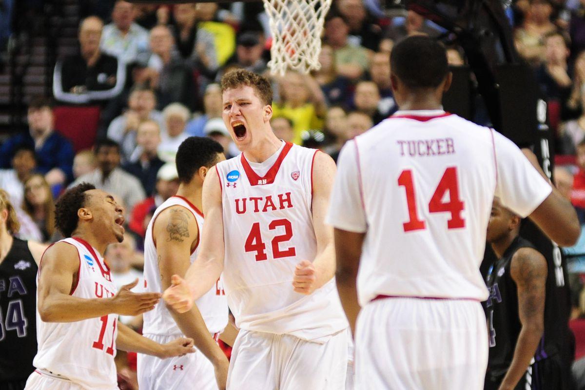 Utah center Jakob Poeltl led the Utes to the 57-50 win over 12-seed Stephen F. Austin Thursday night.