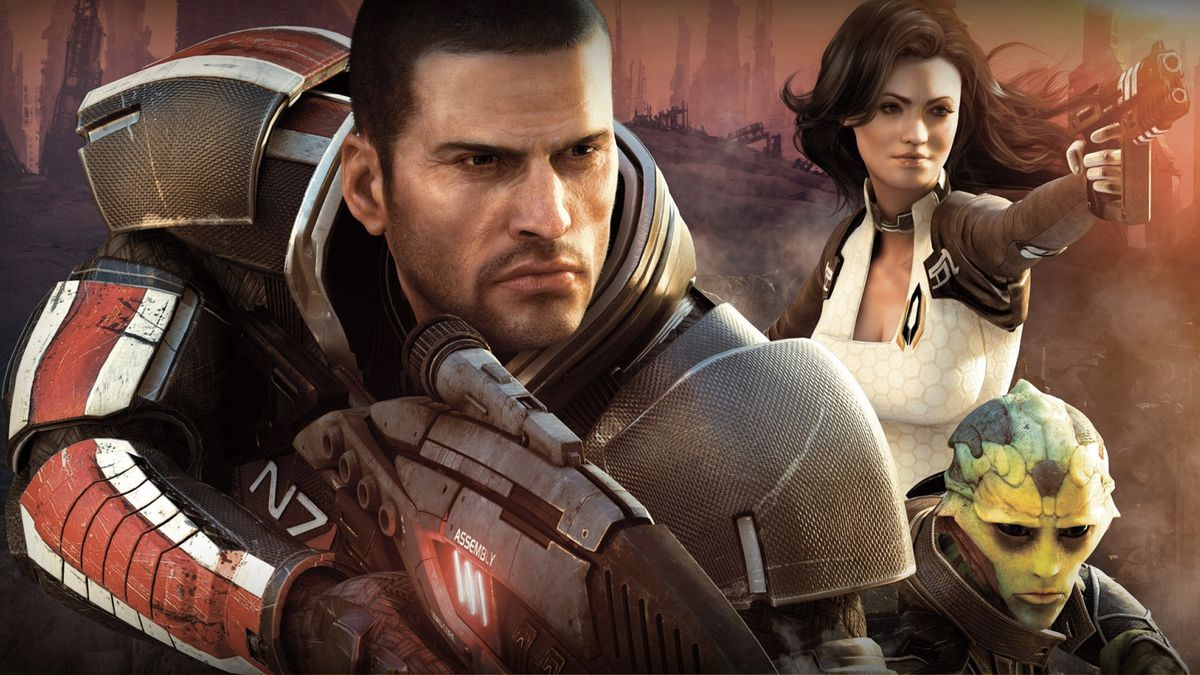 Part of the cast of Mass Effect 2 charging forward.