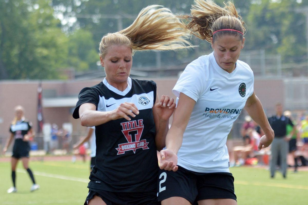 Dougherty (right) scored the Thorns first-ever goal from run of play.