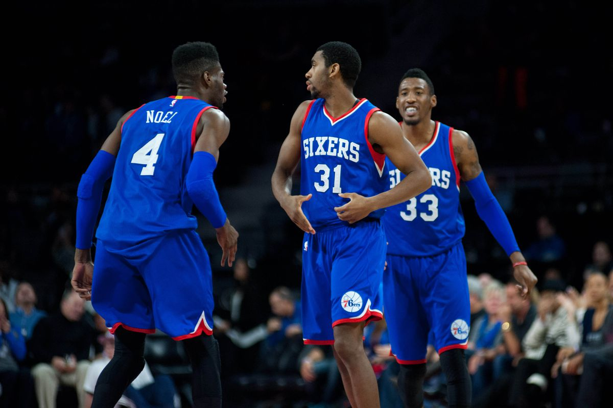 The Sixers react after Hollis Thompson ties the game late.