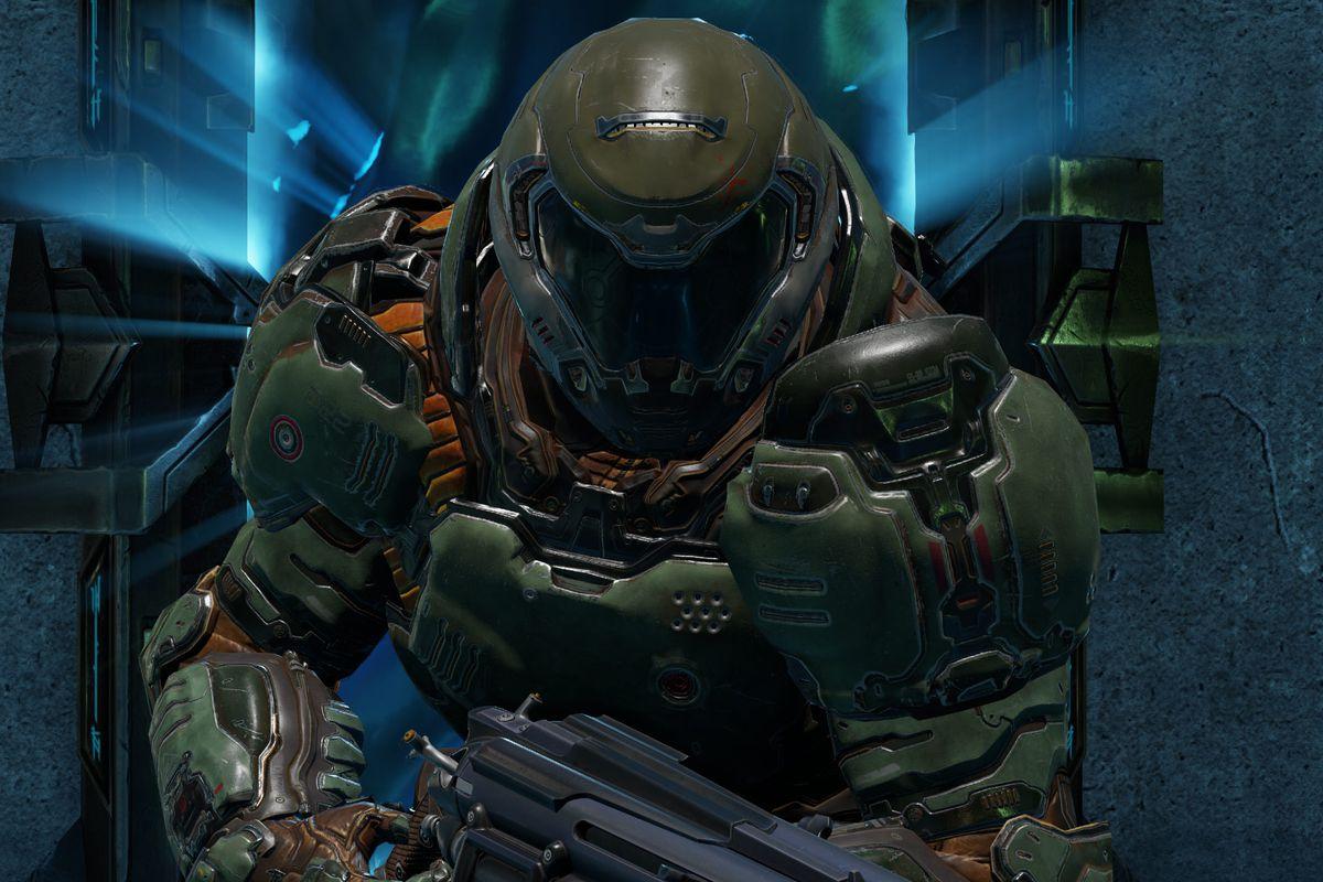 A screenshot looking at the Doom Slayer in Quake Champions