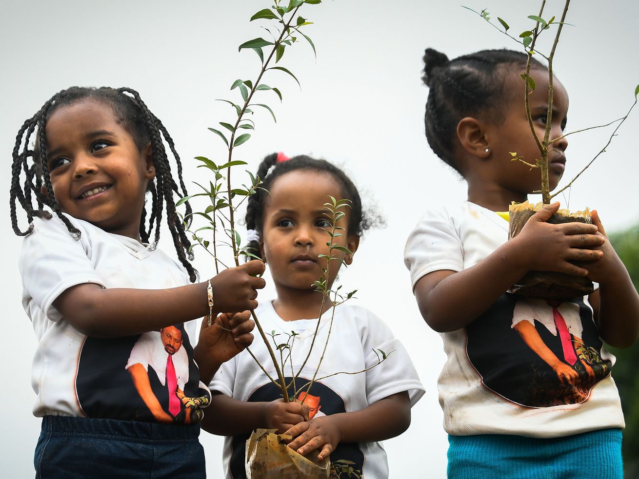 Young Ethiopian girls wearing shirts depicting Ethiopia's Prime Minister Abiy Ahmed hold tree saplings as part in a national tree-planting drive in the capital Addis Ababa.