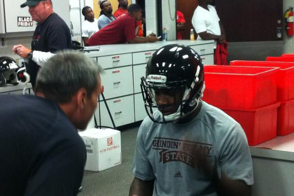 "Charles Mitchell getting his Atlanta Falcons helmet yesterday (via Jay Adams' <a href=""https://twitter.com/#!/FalconsJAdams/status/200679323697557505/photo/1"" target=""new"">Twitter</a>)"