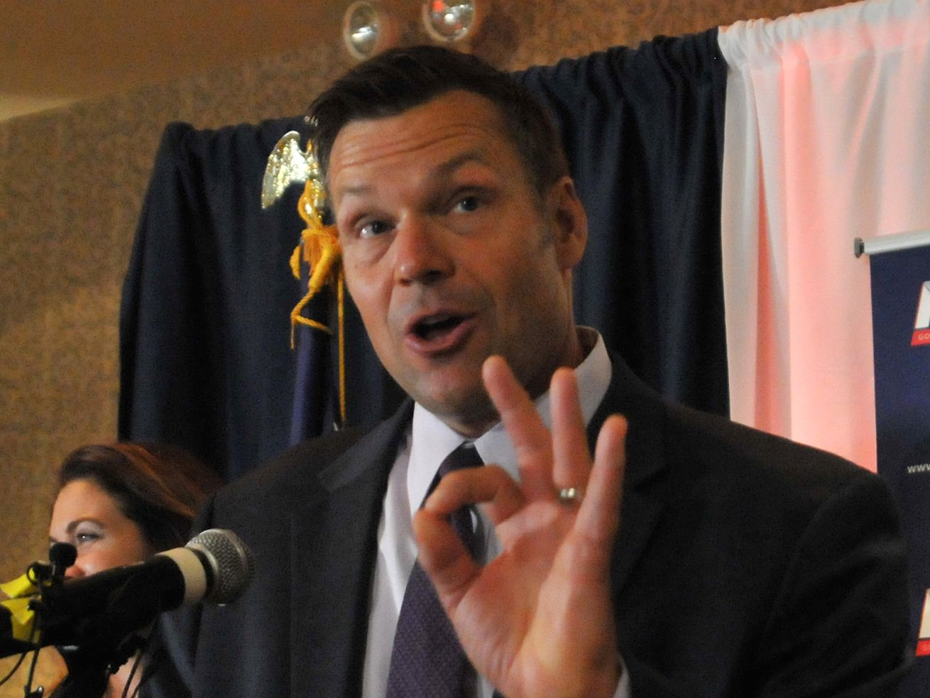 Kris Kobach speaks to supporters during the Republican gubernatorial primary in August 2018.