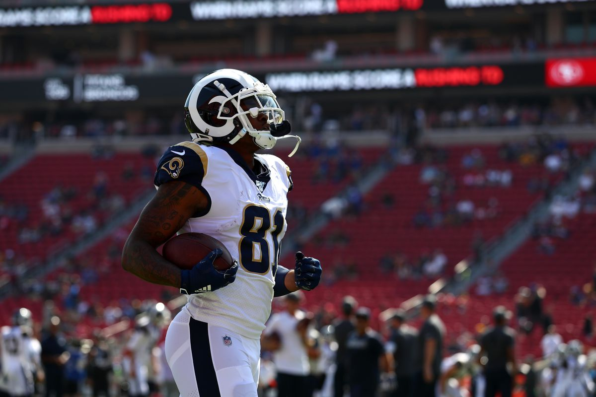 Gerald Everett of the Los Angeles Rams runs with the ball during warmup before the San Francisco 49ers vs. Los Angeles Rams Game at Los Angeles Memorial Coliseum on October 13, 2019 in Los Angeles, California.