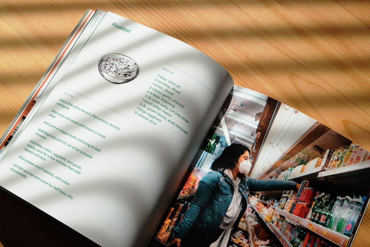 """Pages from the """"Nourish"""" book that shows a recipe for Pinakbet and a young woman shopping for ingredients at a grocery store wearing a face mask"""