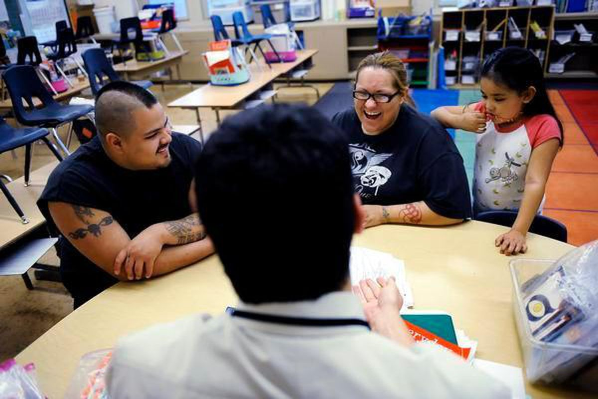 Joshua Montoya and Tina Chavez attend a parent-teacher conference for her daughter, Sofia, at Fairview Elementary in 2010.