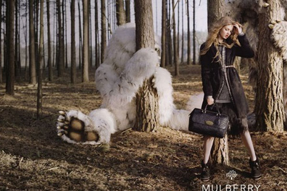 """Creative Director Emma Hill says Mulberry's fall campaign, shot by Tim Walker,  """"plays on the romance and darkness of children's fairytales, with mysterious creatures and the idea of travel, fantasy and beauty."""""""