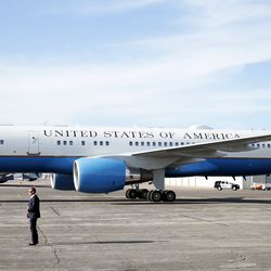 Air Force Two arrives with Vice President Mike Pence aboard at the general aviation facilities at Salt Lake City International Airport on Wednesday, Aug. 21, 2019.