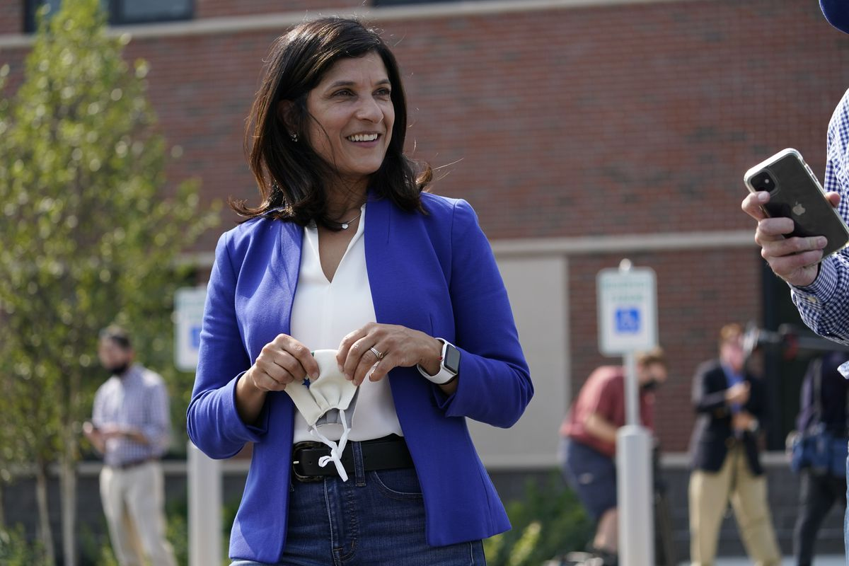 Maine House Speaker Sara Gideon, Democratic candidate for US Senate, at a campaign stop