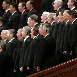 Tabernacle Choir members sing during the 182nd Annual General Conference for The Church of Jesus Christ of Latter-day Saints in Salt Lake City  Sunday, April 1, 2012.