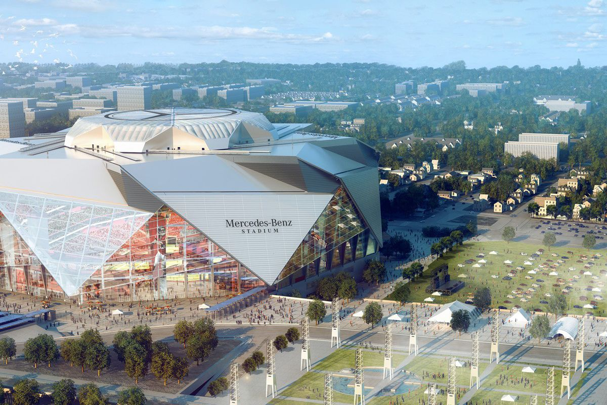 A rendering of Mercedes-Benz Stadium