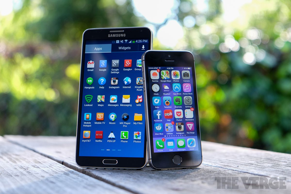 Samsung Galaxy Note 3 and iPhone 5S (stock)