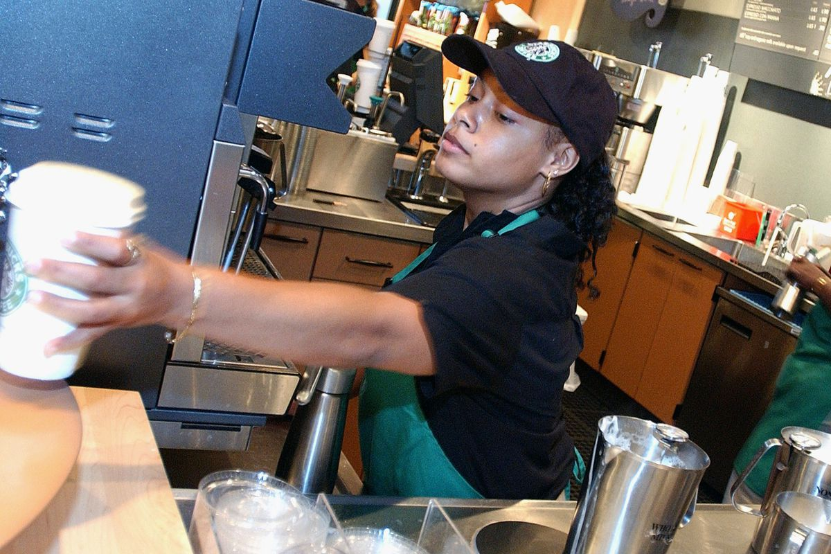 This woman might get tuition benefits soon. But it's not because Starbucks is just being nice.