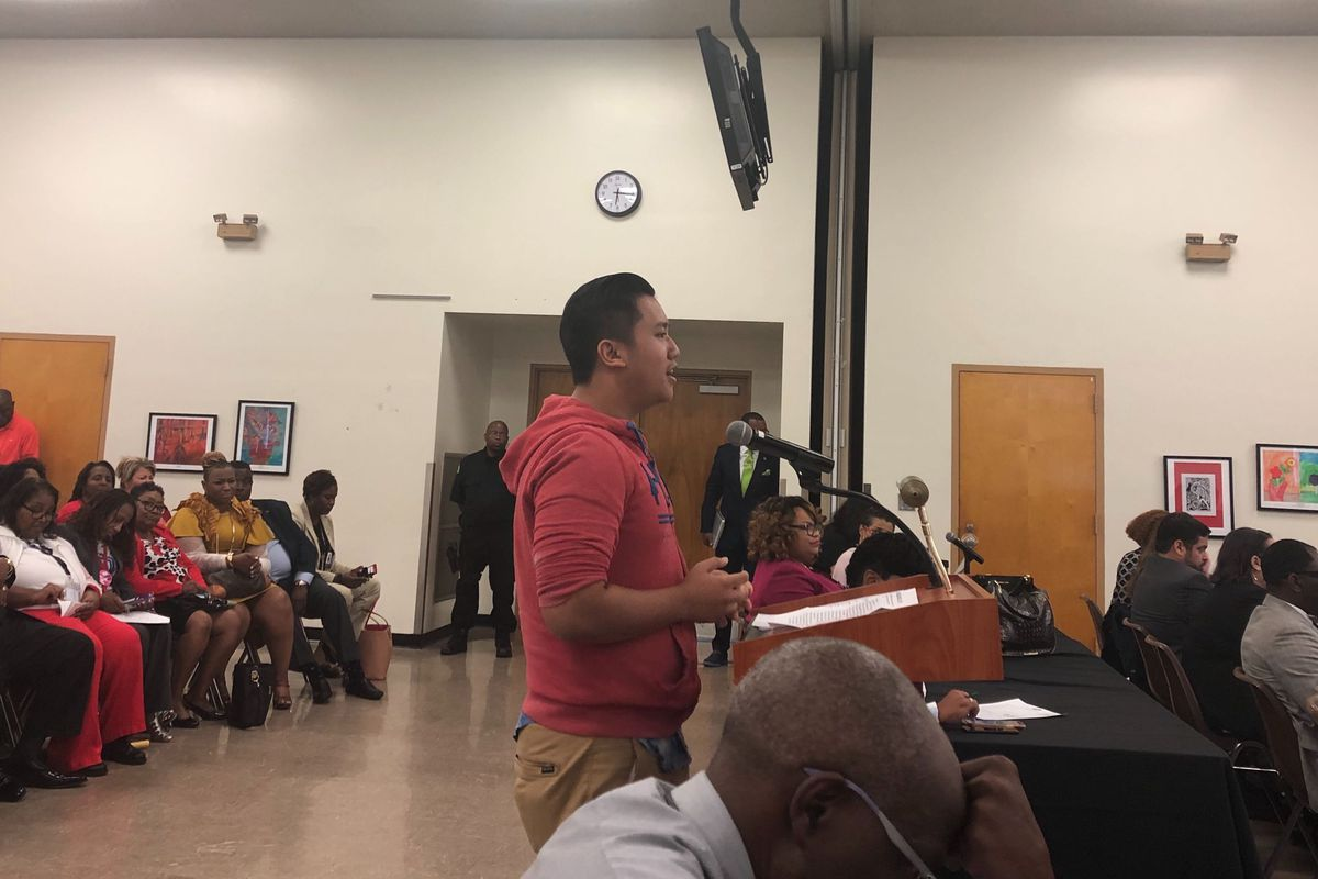 Trumg Lee, an 11th-grader at Southwest Early College High School was among those who spoke at the evening board meeting.