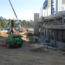 Construction in and around the center field plaza behind the left field pavilion at Dodger Stadium, March 3, 2020.