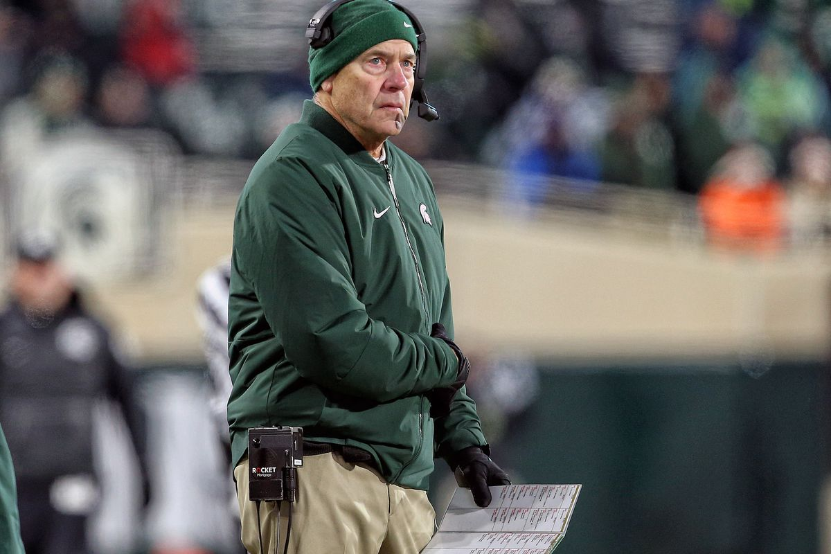 Michigan State Spartans head coach Mark Dantonio stands on the field during the second half against the Maryland Terrapins at Spartan Stadium.