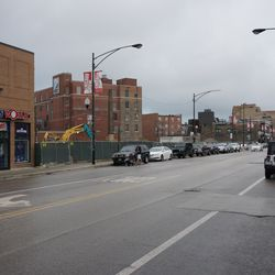View looking south on Clark Street, from the front of Cubby Bear
