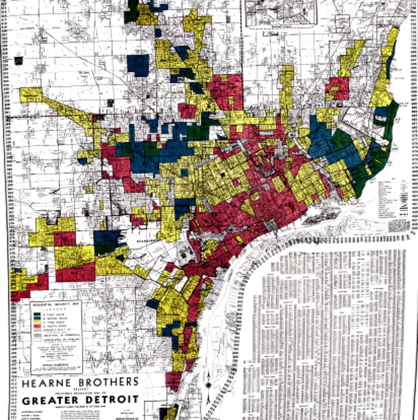 """A map showing the practice of redlining as it happened in Detroit, Mich. in 1939. Neighborhoods that were considered """"lower risk"""" for mortgages were colored either blue or green, while """"higher risk"""" neighborhoods were colored yellow or red."""