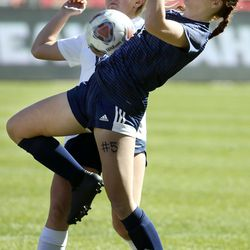 Skyline's Piper Kinkead, right, and Bonneville's Maddie Callahan compete for the ball in the 5A championship game at Rio Tinto Stadium in Sandy on Friday, Oct. 25, 2019.