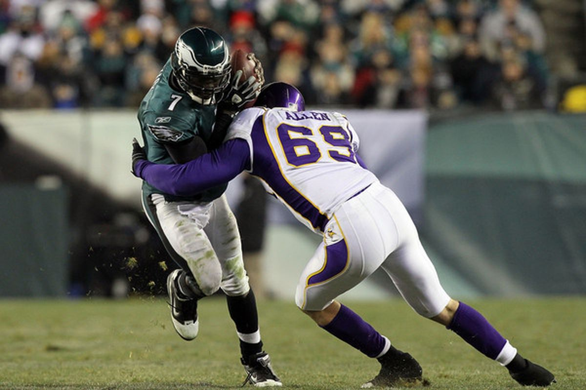 Jared Allen will have to be the anchor of the defensive line and do a lot of this in 2011.